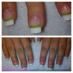 White & Green French Acrylic Nails