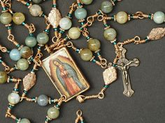 Handmade by one of my fellow Rosary Guild members!  Catholic Rosary Lady of Guadalupe Copper Teal by HeartBeadDesigns, $88.00