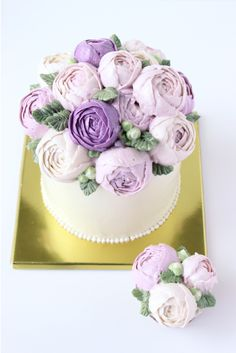 Floral Tulips Buttercream Cakes | Bouquet of Purple Buttercream Flowers — Eat Cake Be Merry - Custom ...
