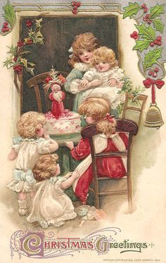 """Christmas Greetings.""  Five young children crowd around a small table on which waits a Christmas cake decorated with a Santa.  All children wear Victorian-era clothing."