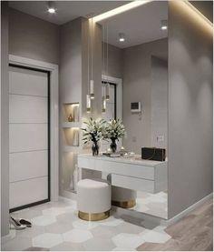 Hall de entrada clean, moderno e lindo. Bedroom Closet Design, Modern Bedroom Design, Bedroom Tv, Modern Design, Interior Design Living Room, Living Room Designs, Design Interior, Flur Design, Dressing Table Design