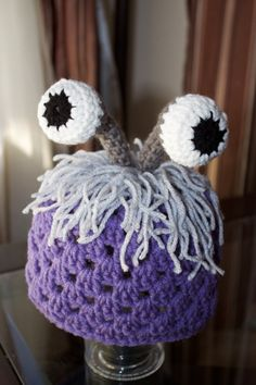 Crochet baby toddler purple monsters inc boo disguise hat beanie with eyes 0-12 months on Etsy, $13.00