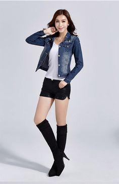 Aliexpress.com : Buy 2015 ladies stretch denim jacket slim jeans long sleeved jacket from Reliable jackets jeans for men suppliers on Susan Xu' Store | Alibaba Group