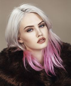 White/Grey Blonde & Fuscia Ombre - yes! dammit! I can be grey and be cool!