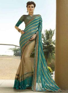 Inline Sky Blue And Chiku  Thread Embroidery Work Viscose Designer Sarees