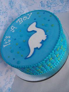 baby shower dinosaur cake