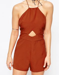Image 3 ofGlamorous Halterneck Playsuit With Cut Out Detail