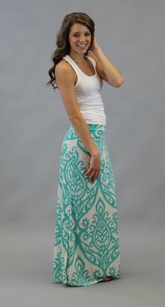 put a sweater, shirt or jacket over it and you have a cute modest outfit Damask Maxi Skirt - Turquoise