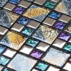 Multicolor Tile Backsplash Per Sheet, Multicolored Mix Silver Coated Glass Mosaic Glossy Tile, Bathroom Wall & Floor Tiles White Mosaic Tiles, Glass Mosaic Tiles, Mosaic Wall, Marble Mosaic, Wall And Floor Tiles, Wall Tiles, Tile Art, Glass Backsplash Kitchen, Backsplash Tile