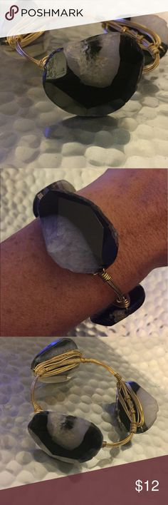 ❤️Bourbon and Bowties Bangle Black and white stone with gold wiring. Bourbon and Bowties Jewelry Bracelets