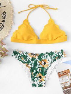 Scallop Edge Mix and Match Bikini Set -SheIn(Sheinside)