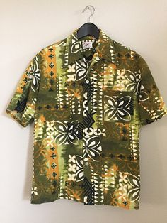 9a82f754 Vintage 60s Hawaiian Shirt. Large, Bark Cloth, Olive Green Black Gold White  Abstract