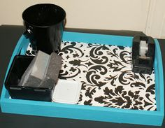 Coley's Corner: From Drab to Fab: Teal and Damask Tray