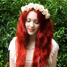 Whole Lotta Rosie Headband  Cream by crownandglory on Etsy, £20.00
