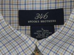 Brooks-Brothers-Mens-Dress-Shirt-Sz-L-Large-Non-Iron-100-Cotton-Plaid