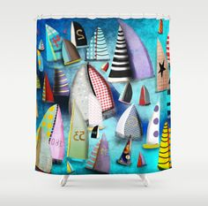 New York Yacht Club Regatta SHOWER CURTAIN  Rupy de Tequila Art !