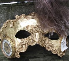 Gold Venetian Steampunk masquerade mask with by ladyinthetower, $79.00