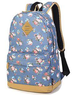 Leaper wasserdichte Leinwand + PVC Schicht Schule Rucksack hübsch floral Laptop Tasche lässig Daypack (Weiß): Amazon.de: Koffer, Rucksäcke & Taschen
