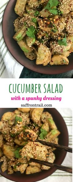 2 minute Cucumber Salad with a Spunky Dressing Easy 2 minute cucumber salad that is nothing like your regular cucumber salad. All thanks to the SPUNKY dressing! Vegetarian Salad Recipes, Healthy Salads, Lunch Recipes, Vegan Recipes, Cooking Recipes, Eating Healthy, Healthy Lunches, Healthy Dishes, Curry Recipes