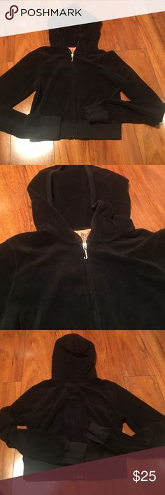 Black Terricloth Juicy Couture Zip Crop Size S Great condition! Juicy Couture Jackets & Coats