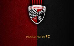 Download wallpapers FC Ingolstadt 04, 4K, leather texture, German football club, logo, Ingolstadt, Germany, Bundesliga 2, second division, football