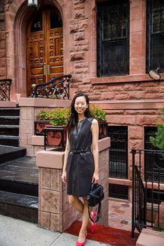 leather dress, low heel slingback pumps, leather crossbody studded bag  brands: w by worth, rebecca minkoff, m. gemi