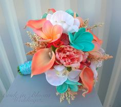 Tropical wedding bouquet Coral peach turquoise bouquet Beach