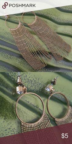 Gold Earrings Long dangling earrings with rhinestone stud. From a clean smoke free home. Jewelry Earrings