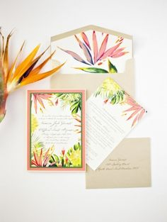 Tropical Colourful Summer Bird of Paradise Wedding Stationery Invitation Inspiration Beach Wedding Invitations, Wedding Stationary, Wedding Themes, Wedding Cards, Wedding Wishes, Wedding Ideas, Wedding Songs, Turquesa E Coral, Dessy Bridesmaid