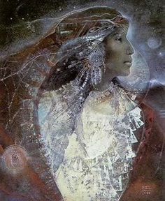 Yolkai Estsan - goddess of the Navajo who is associated with seasons and the land
