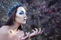 Winter ice queen princess outdoor photo shoot blue eyes crown