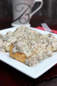 Sausage Gravy and Biscuits is probably my comfort food when it comes to breakfast. Wonder how it compares to moms. I've died and gone to heavy, best gravy ever! What's For Breakfast, Breakfast Items, Breakfast Dishes, Breakfast Recipes, Breakfast Biscuits, Morning Breakfast, All You Need Is, Just In Case, I Love Food