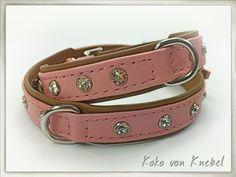 Dog Collar Cream & Rose with Silver Hardware - Handcrafted by Koko von Knebel