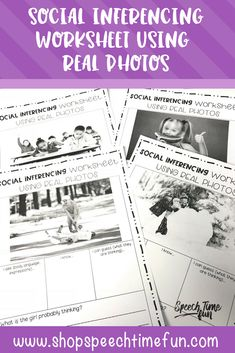 Social Inferencing Worksheets Using Real Photos: No prep and perfect for older speech and language students. Graphic organizers and sample higher level thinking questions provided. Seasonal/thematic photos and generic photos used to make it fun and relevant.
