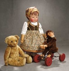 """A Time For Gratitude"" - Sunday, November 7 Early German Cloth Art Character, Series I, by Kathe Kruse Country Costumes, Blush On Cheeks, Doll Display, Boy Doll, Art Furniture, Antique Toys, Old Toys, Vintage Dolls, Doll Clothes"