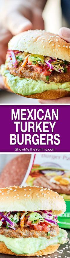 Mexican Turkey Burgers Recipe w/ Pico De Gallo & Slaw Mexican Turkey Burgers Recipe. Tender turkey burgers, crunchy slaw, fresh pico, & an avocado sauce make these great for an easy, healthy dinner! Greek Turkey Burgers, Turkey Burger Recipes, Venison Recipes, Dog Recipes, Grilling Recipes, Cooking Recipes, Healthy Recipes, Beef Burgers, Hamburger Recipes