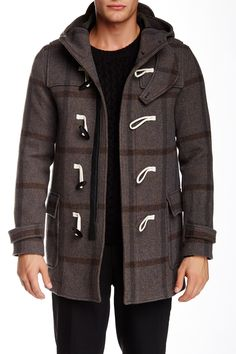 The Kooples - Plaid Wool Toggle duffel Coat