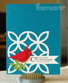 very merry Christmas cardinal - jackiestamps4fun