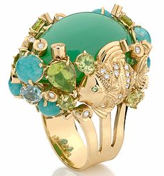 Anel de ouro amarelo com amazonita, brilhante, jade, peridoto, tsavorita e topázio azul