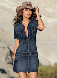 Pretty denim dress design only I would use all the buttons and make it knee-length Casual Dresses, Short Dresses, Casual Outfits, Fashion Dresses, Cute Outfits, Summer Dresses, Women's Casual, Denim Fashion, Look Fashion