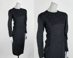 Vintage 1980s Dress / 80s Black Silk Floral Ruched Shift Dress M L by FloriaVintage on Etsy