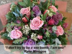 On the seventh day of Pot Pourri love, we have a quote from Kylie to go with our Kylie Minogue bouquet. Popular pretty pinks in all shades from pale through to deep pink. Flowers For Valentines Day, Mothers Day Flowers, Send Roses, Local Florist, Kylie Minogue, Some Ideas, Rose Bouquet, Flower Delivery, Pretty In Pink