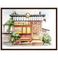 Japanese frozen treats   Poster with optional frames - 45x60 cm / 18x24″ / Dark wood frame