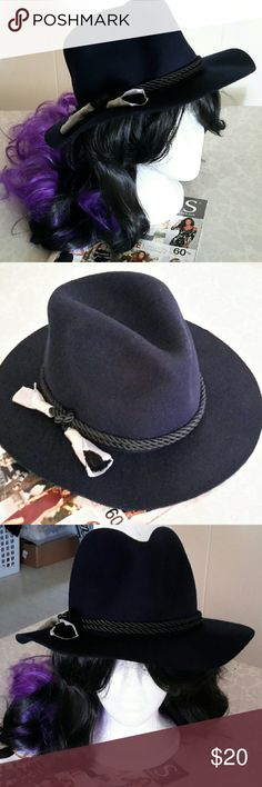 NWT GYPSY SPIRIT BOHO MED. FEDORA(Navy Blue)OS Re-posh...New, unworn, beautiful addition to your look, a must for this Fashion Season. OS, (NOT X-Lg)  This is a medium, Panama, or western style,  Not the smaller Frank Sinatra style, or the Large super floppy kind. Bought last week, not right color for my coat. Gypsy Spirit Accessories Hats