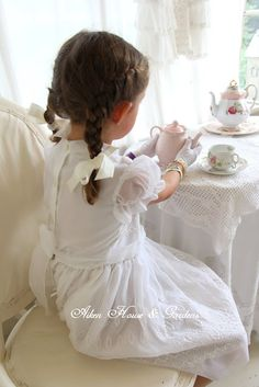 "TEA PARTY: ""I had a little tea party this afternoon at three ~ Twas very small, three guests in all ~ I, Myself, and Me ~ Myself ate up the sandwiches while I drank up the tea ~ Twas also I who ate the pie and passed the cake to me: ~ by Jessica Nelson North"