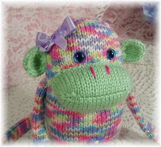 Gotta find this pattern! Cute Hand Knitted Monkey with soft Green Pink Purple by JoolieSews, $28.00