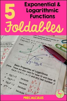 Do you love Interactive Notebooks for PreCalculus? Here is a complete unit of Foldables in an bound book style for use in your class. This will save you valuable planning time and students will love the neat, compact mini-booklet format. Logarithmic Functions, Geometry Worksheets, We Are Teachers, Honor Student, Precalculus, Secondary Teacher, Bound Book, Interactive Notebooks, Math Resources