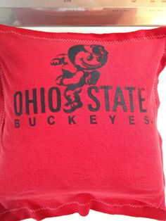 Ohio State Buckeyes Brutus T-Shirt Pillow Recycled T-Shirt Go Bucks Ohio State University Seat Cushion Pillow Decor
