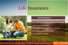 Life insurance is insurance for you and your family's peace of mind. So it is important to ensure that your family and loved ones are taken care of financially in case something should happen to you. Read more www.solutionsinvest.in/LI.html