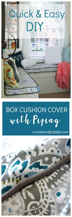 I may earn money or products from the companies mentioned in this post at no additional cost to you. As always I only recommend products and services that I use and love.Remember the window seat that I recently made? As promised, here is the tutorialTips forMaking a Box Cushion Cover with Piping. I had never …